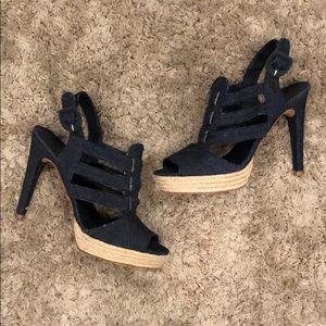 Castaner Denim Espadrille Heel Sandals
